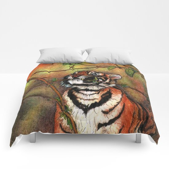 Baby tiger is playing Comforters