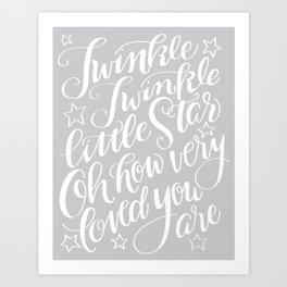 Twinkle Twinkle Litte Star Grey Art Print