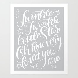 Twinkle Twinkle Litte Star Grey Art Print