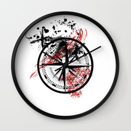 Compass - Red/Black/White Wall Clock
