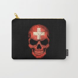 Dark Skull with Flag of Switzerland Carry-All Pouch