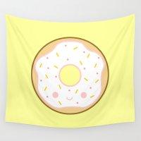 doughnut Wall Tapestries featuring Yummy white kawaii doughnut by Holly