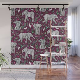 Baby Elephants and Egrets in Watercolor - burgundy red Wall Mural