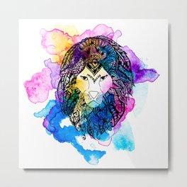 Modern watercolor mandala lion illustration Metal Print