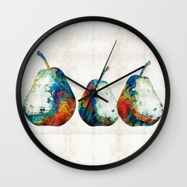 Colorful Pear Art - Three Pears - By Sharon Cummings Wall Clock