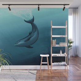 """Siren of the Blue Lagoon"" by Amber Marine ~ Dolphin Art, Digital Painting, (Copyright 2015) Wall Mural"