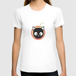 Black Cute Cat With Hearts T-shirt