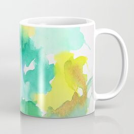 Abstract Green and Yellow Aqua Splash Watercolor Coffee Mug