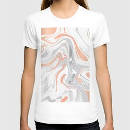 Liquid White Marble and Copper 017 T-shirt
