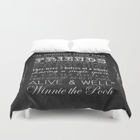 winnie the pooh Duvet Covers featuring Winnie the Pooh Friendship Quote - Chalkboard Style by Jaydot Creative