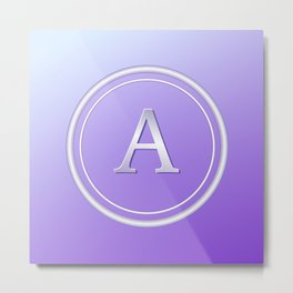 Silver and Purple Monogram - A Metal Print