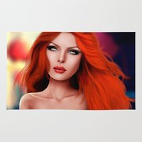 redhead Area & Throw Rugs featuring Beautiful RedHead by Rayne Morgan