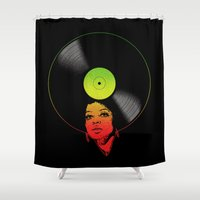 rasta Shower Curtains featuring Afrovinyl (Rasta) by bronzarino