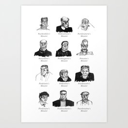 Field Guide to Man-Made Monsters (black & white) Art Print