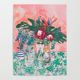 Cockatoo Vase - Bouquet of Flowers on Coral and Jungle Poster