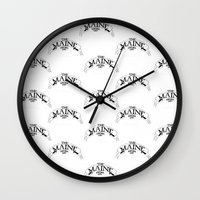 maine Wall Clocks featuring Maine by Natalie Oliver