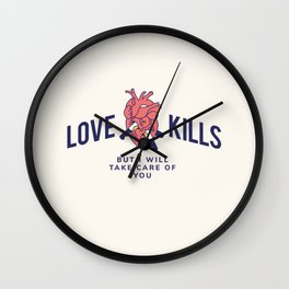Cool Vintage Quote Love Kills Valentine Wall Clock