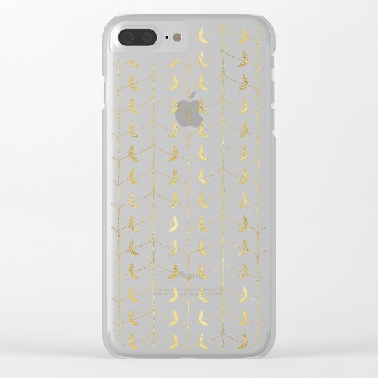 Gold Leaves Pattern Clear iPhone Case