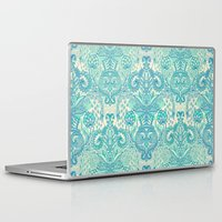 stickers Laptop & iPad Skins featuring Botanical Geometry - nature pattern in blue, mint green & cream by micklyn