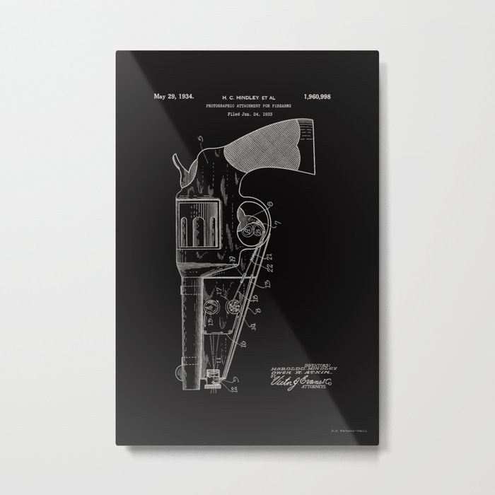 Photographic attachment for firearms Patent - Circa 1934 Metal Print