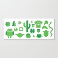 shrek Canvas Prints featuring GREEN by Anthony Morell