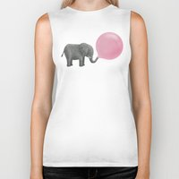 grey Biker Tanks featuring Jumbo Bubble Gum  by Terry Fan