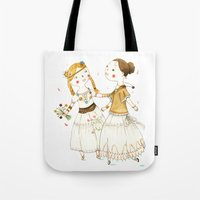 hippie Tote Bags featuring Hippie Girls by Judith Loske
