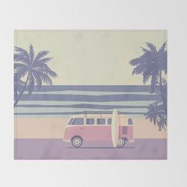 Surfer Graphic Beach Palm-Tree Camper-Van II Throw Blanket