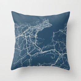 Santander Blueprint Street Map, Santander Colour Map Prints Throw Pillow