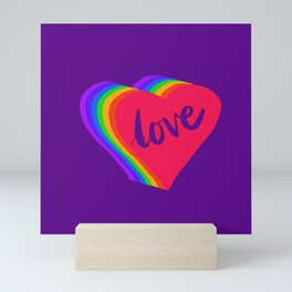S6 purple rainbow love heart Mini Art Print