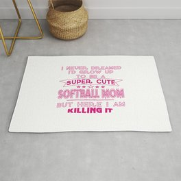 SUPER CUTE A SOFTBALL MOM Rug