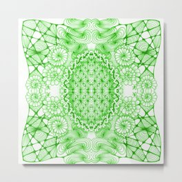 Green Zentangle Tile Doodle Design Metal Print