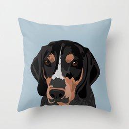 Doc Bluetick Coonhound Throw Pillow