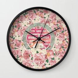 Double Happiness Symbol on  Peony pattern Wall Clock