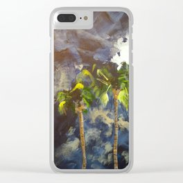 Palm Springs Night Palm Tress Clear iPhone Case