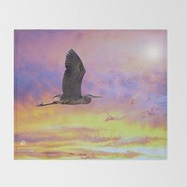 Heron Flying at Sunset Throw Blanket
