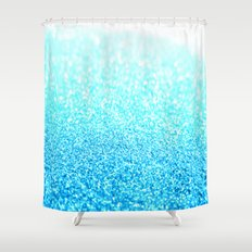 Turquoise Glitter Shower Curtain
