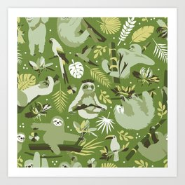Easy living jungle sloths | green Art Print
