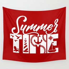 Summer TIME Nautical Solid Red, Seagull, Lounge Chair, Lighthouse, Anchor, Rope, Compass, Sail Boat Wall Tapestry