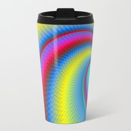 Big Wave in Yellow Turquoise and Red Travel Mug