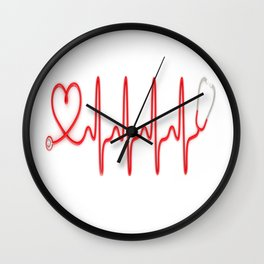 Ekg Heart Stethoscope Wall Clock