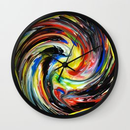 Fluid Abstract Colorful Whirlpool Print Wall Clock