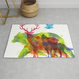 Colorful watercolors wild animals overprint Rug