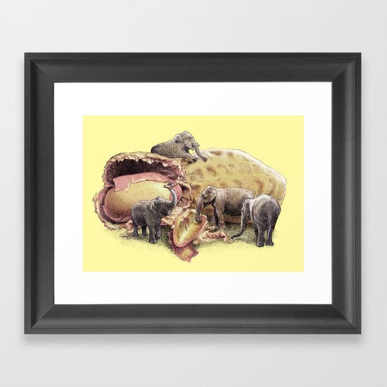 Elephant's Paradise (colour option) Framed Art Print