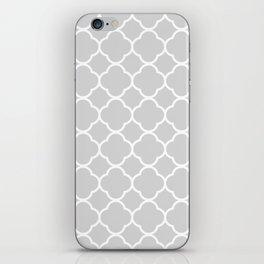 Gray & White Quatrefoil iPhone Skin