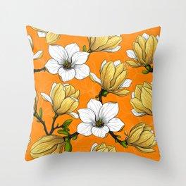 Magnolia garden in yellow Throw Pillow