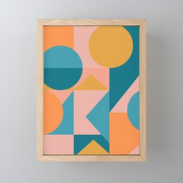 Colorful Geometric Abstraction in Blue and Orange Framed Mini Art Print