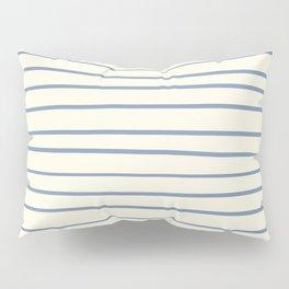 Dusk Sky Blue 27-23 Hand Drawn Horizontal Lines on Dover White 33-6 Pillow Sham