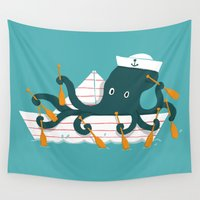 sailor Wall Tapestries featuring Sailor Octopus by Picomodi