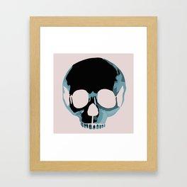 Blue punk skull Framed Art Print